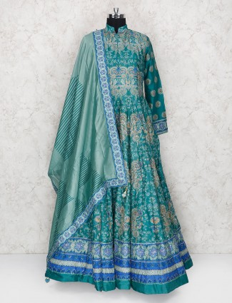 Green hue printed pattern anarkali suit