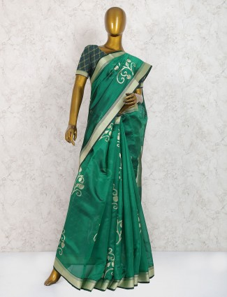 Green hue pure silk saree