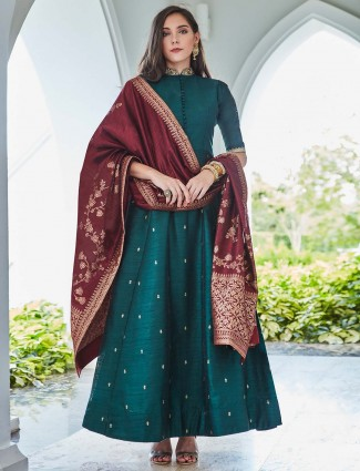Green hue raw silk beautiful anarkali suit