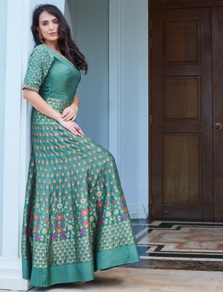 Green hue raw silk fabric floor length anarkali suit