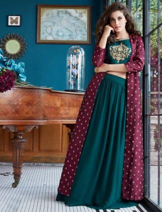 Green hue raw silk festive lehenga choli