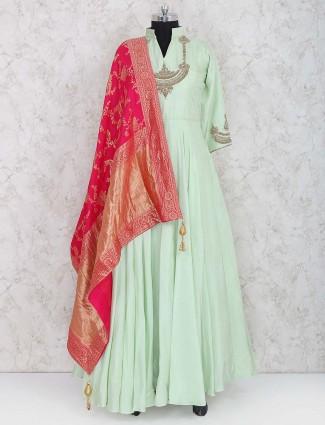 Green hue raw silk pakistani anarkali salwar kameez