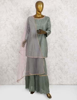 Green hue raw silk punjabi sharara suit