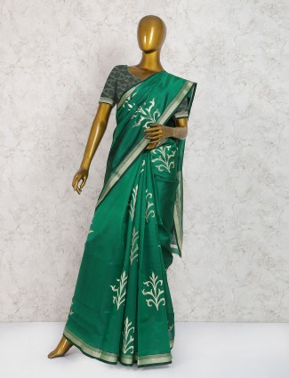 Green hue saree in cotton silk