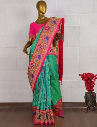 Green hue saree in pure banarasi silk