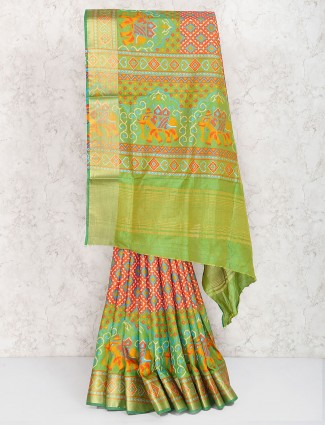 Green hue saree in semi silk