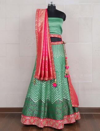 Green hue semi stitched banarasi silk lehenga choli