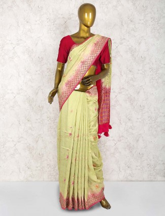 Green hue silk saree