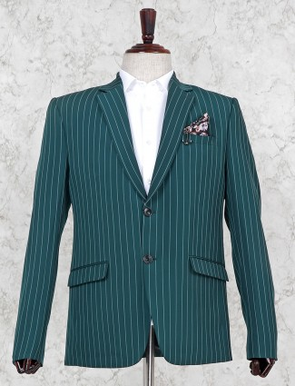 Green hue two buttoned placket stripe blazer