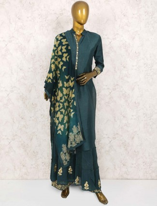 Green hued cotton silk fabric punjabi sharara suit