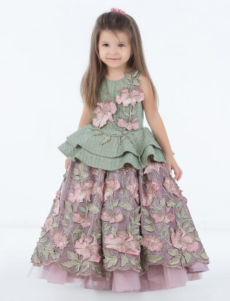 Green hued raw silk fabric gown
