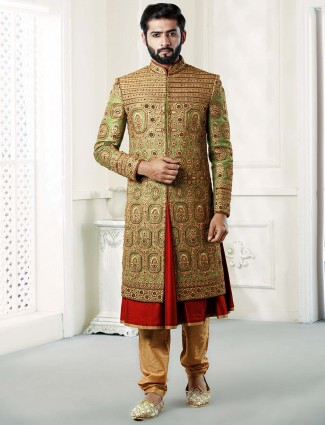 Green hued raw silk fabric groom sherwani