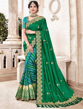 Green hue half and half saree in semi silk fabric