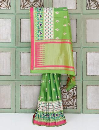 Green hyderabadi patola cotton silk festive saree