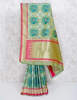 Green hyderabadi patola saree for wedding