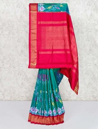 Green hydrabadi patola silk indian saree
