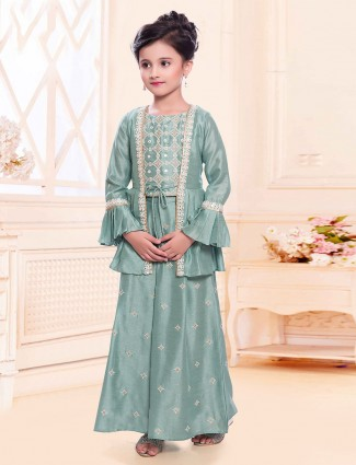 Green jacket style silk palazzo suit