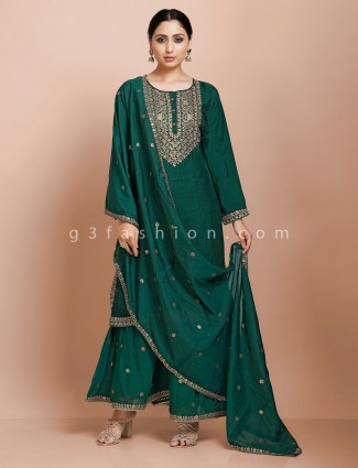 Green kurti and palazzo set in raw silk for festival