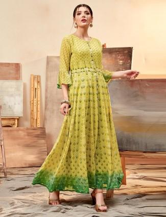 Green kurti combination in cotton silk