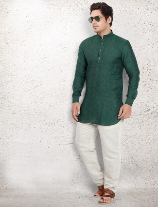 Green linen pathani suit