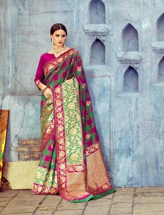 Green magenta silk wedding wear saree