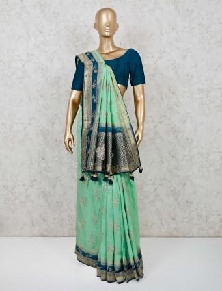 Green muga silk classic saree for festive