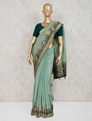 Green muga silk golden zari weaving saree