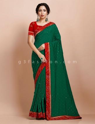 Green muga silk wedding wear saree in reception