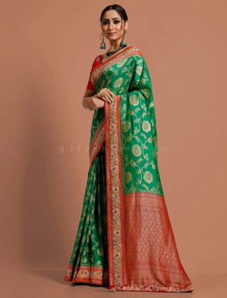 Green muga wedding function saree
