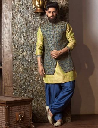 Green navy silk waistcoat set