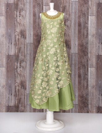 Green net gown for party