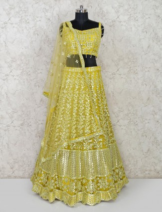 Green net lehenga choli exclusive for wedding