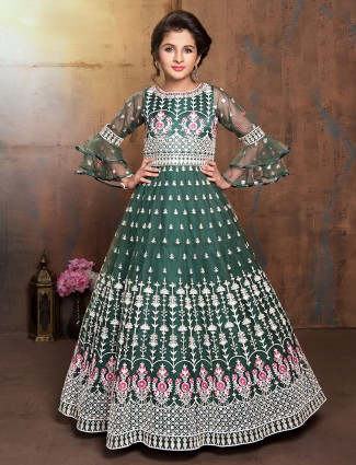 Green net wedding designer anarkali suit