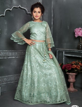 Green net wedding wear lehenga choli