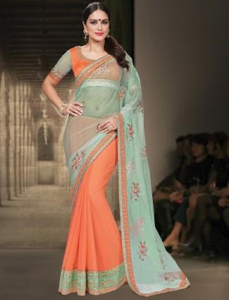 Green orange festive wear net half and half sari