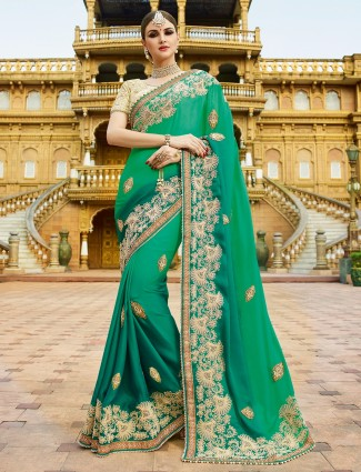 green orange georgette saree