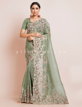 Green orangza tissue silk wedding saree