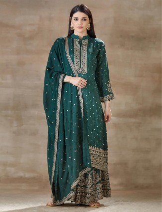 Green palazzo and kurti set for festive look