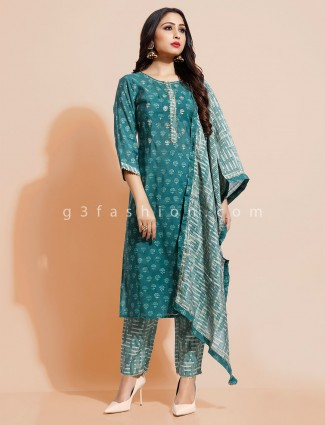 Green pant suit printed style in cotton