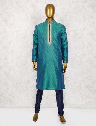 Green party wear cotton silk kurta suit