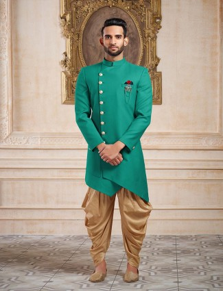 Green party wear mens indo western