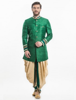 Green partywear indo western for men