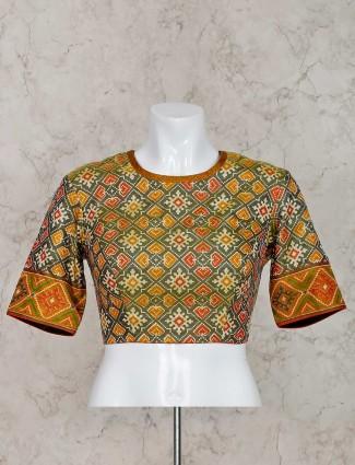 Green patola silk ready made blouse