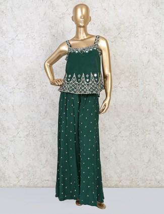 Green peplum style silk palazzo suit