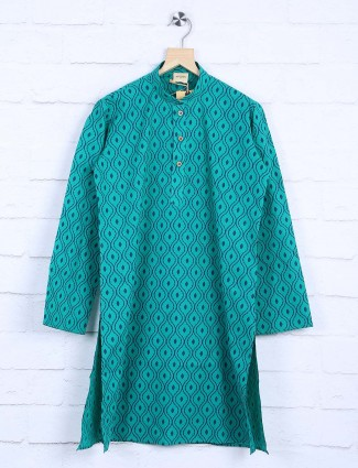 Green printed cotton fabric kurta suit