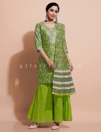 Green printed cotton kurti set with sharara bottom