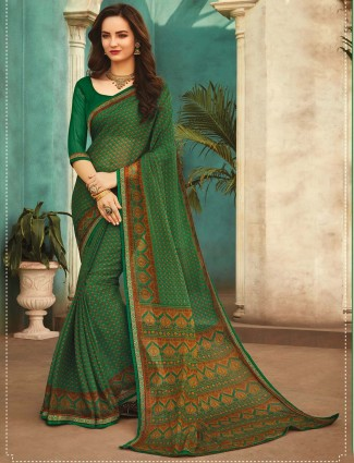 Green Printed Festive wear georgette saree