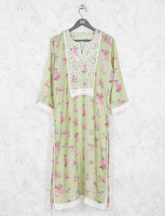 Green printed keyhole neck kurti in cotton