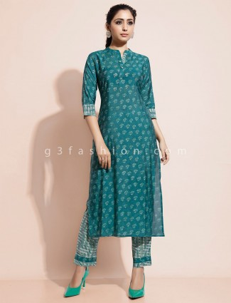 Green printed kurti for festive in cotton
