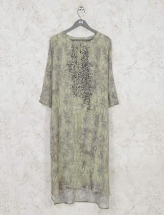 Green printed kurti in cotton
